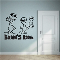 Custom Personalized Name and Alien Wall Decal Sticker - AlienCust01