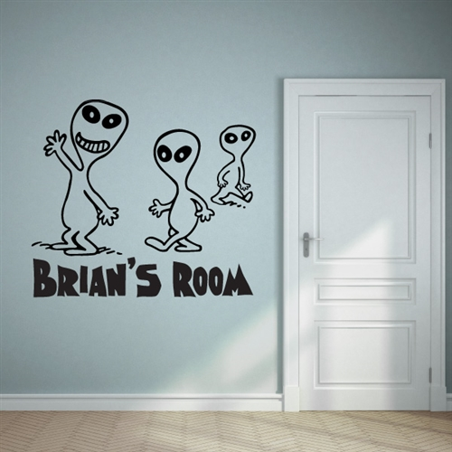 custom personalized name and alien wall decal sticker