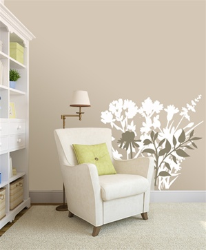 Botanical floral silhouette wall decal stickers