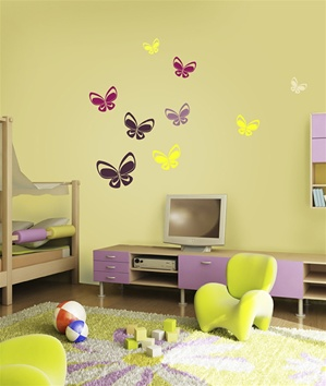 Techno Butterfly wall decals stickers