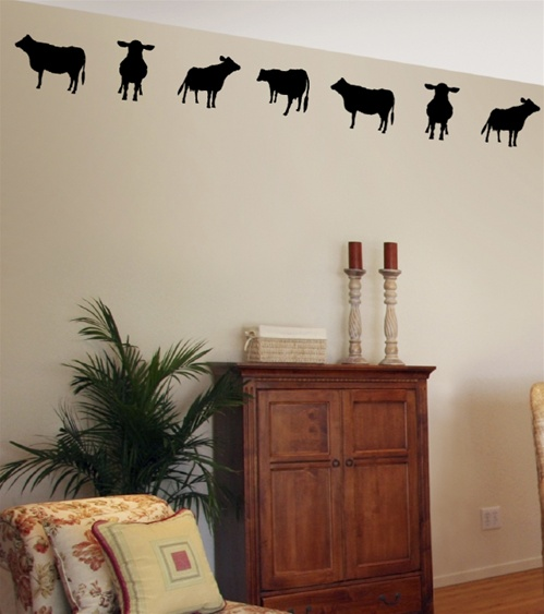 Kitchen Wall Border Decals: Cow Border Wall Decals Stickers