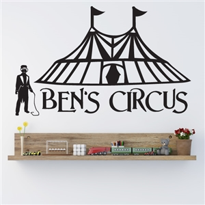 Custom Personalized Name and Circus Wall Decal Sticker - CircusCust01