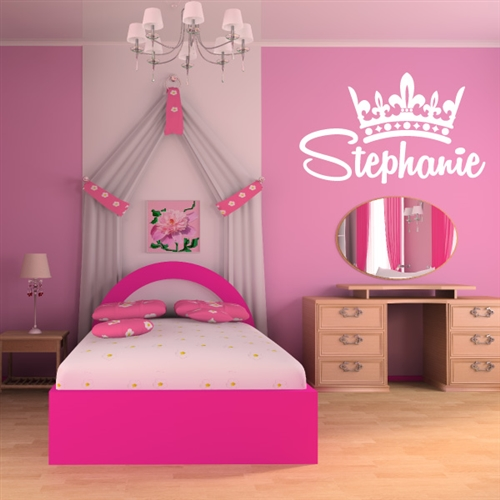 custom personalized name and crown wall decal sticker