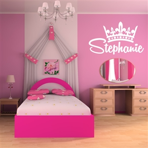Custom Personalized Name and Crown Wall Decal Sticker - CrownCust02
