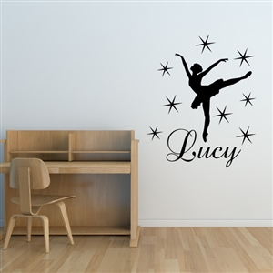 Custom Personalized Name and Dance Wall Decal Sticker - DanceCust002