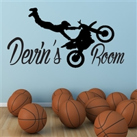 Custom Personalized Name and Dirt Bike Wall Decal Sticker - DirtBikeCust03