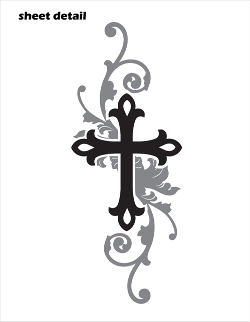 from walls to cars this elegant cross decal sticker works anywhere you ...