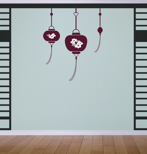 Hanging Lamp Wall Sticker: Hanging Lanterns Wall Decals Stickers