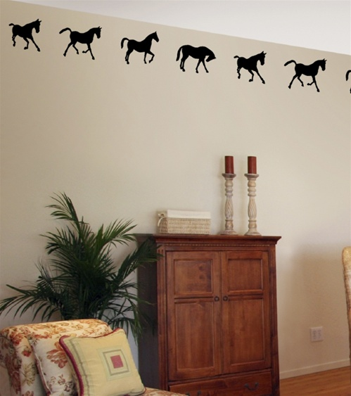 Playful Horse Border Wall Decals Stickers