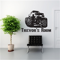Custom Personalized Name and Truck Wall Decal Sticker - MonsterTruckCust01