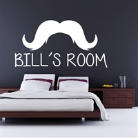 Custom Personalized Name and Mustache Wall Decal Sticker - MustacheCust01