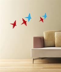Origami bird wall decals stickers