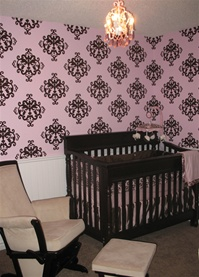 Ornate pattern decorative damask wall decals stickers