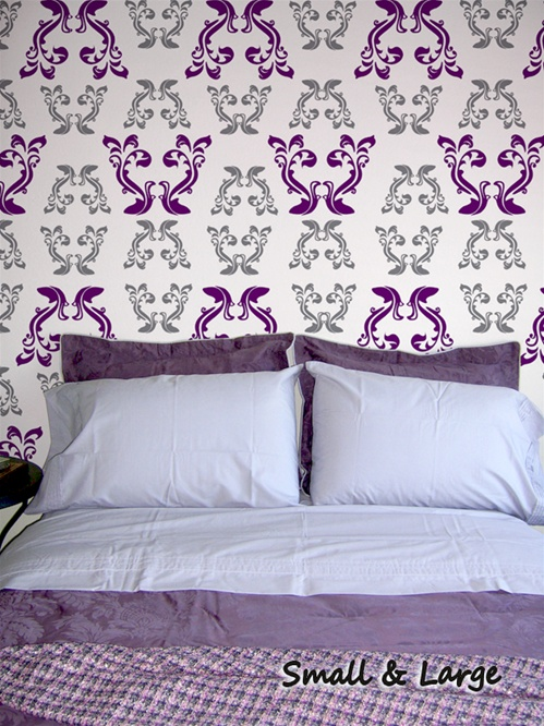 Rococo Damask Style Pattern Wall Decals Stickers