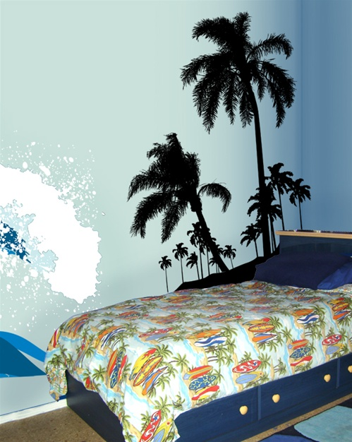 Surf S Up Beach Palms Wall Decal Sticker