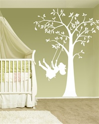Swinging Child Tree wall decal sticker