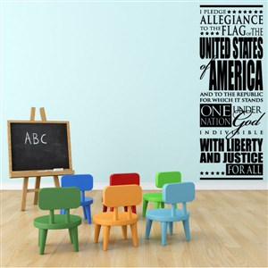 I pledge allegiance to the flag of the united states of america - Vinyl Wall Decal - Wall Quote - Wall Decor