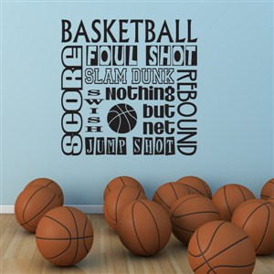 basketball score foul shot slam dunk swish rebound - Vinyl Wall Decal - Wall Quote - Wall Decor