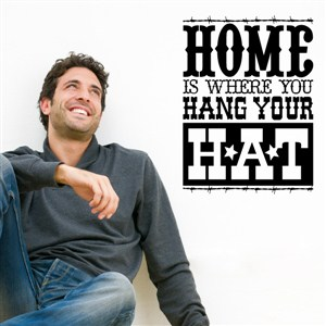 Home is where you hang your hat - Vinyl Wall Decal - Wall Quote - Wall Decor