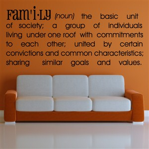 Definition: Family noun - the basic unit of society - Vinyl Wall Decal - Wall Quote - Wall Decor