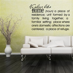 No place like Home - Definition - Vinyl Wall Decal - Wall Quote - Wall Decor
