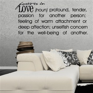 Forever in Love - Definition - Vinyl Wall Decal - Wall Quote - Wall Decor