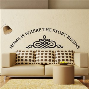 Home is where the story begins - Vinyl Wall Decal - Wall Quote - Wall Decor