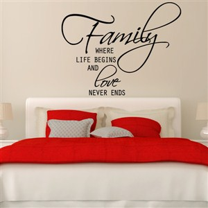 Family where life begins and love never ends - Vinyl Wall Decal - Wall Quote - Wall Decor