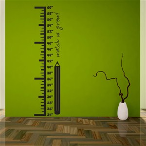 Growth Chart Pencil - Vinyl Wall Decal - Wall Quote - Wall Decor