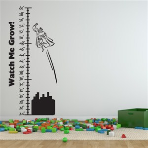 Growth Chart Superhero - Vinyl Wall Decal - Wall Quote - Wall Decor