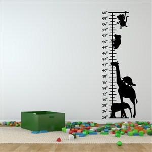 Growth Chart Animals - Vinyl Wall Decal - Wall Quote - Wall Decor