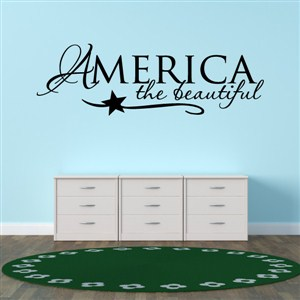 America the beautiful - Vinyl Wall Decal - Wall Quote - Wall Decor