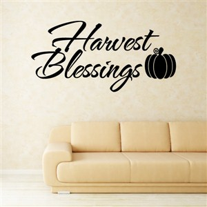 Harvest Blessings - Vinyl Wall Decal - Wall Quote - Wall Decor