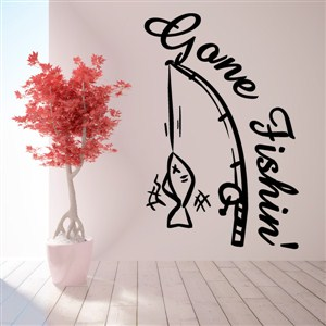 Gone Fishin' - Vinyl Wall Decal - Wall Quote - Wall Decor