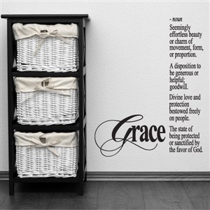 Grace - noun - Seemingly effortless beauty or charm of movement - Vinyl Wall Decal - Wall Quote - Wall Decor