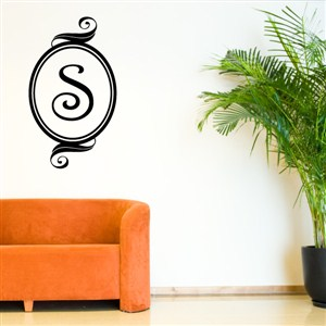 Swirl Frame Monogram - S - Vinyl Wall Decal - Wall Quote - Wall Decor