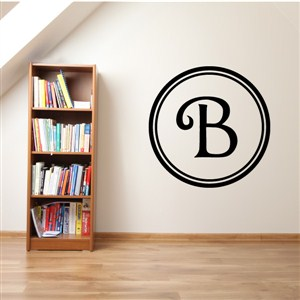 Circle Frame Monogram - B - Vinyl Wall Decal - Wall Quote - Wall Decor
