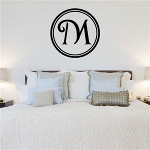 Circle Frame Monogram - M - Vinyl Wall Decal - Wall Quote - Wall Decor
