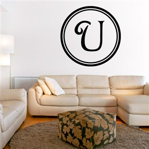 Circle Frame Monogram - U - Vinyl Wall Decal - Wall Quote - Wall Decor