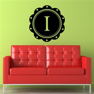 Petal Frame Monogram - I - Vinyl Wall Decal - Wall Quote - Wall Decor