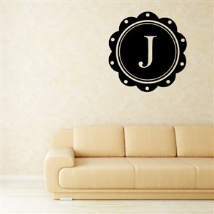 Petal Frame Monogram - J - Vinyl Wall Decal - Wall Quote - Wall Decor