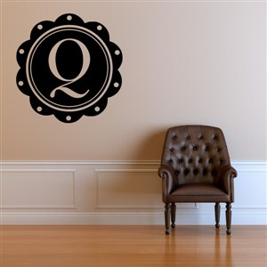 Petal Frame Monogram - Q - Vinyl Wall Decal - Wall Quote - Wall Decor