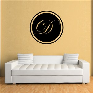 Circle Frame Monogram - D - Vinyl Wall Decal - Wall Quote - Wall Decor