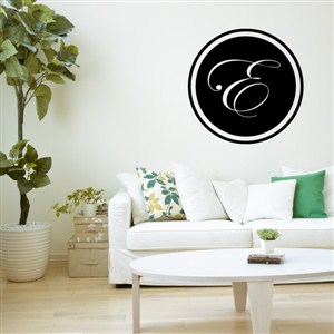 Circle Frame Monogram - E - Vinyl Wall Decal - Wall Quote - Wall Decor