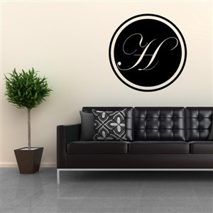 Circle Frame Monogram - H - Vinyl Wall Decal - Wall Quote - Wall Decor