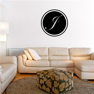 Circle Frame Monogram - J - Vinyl Wall Decal - Wall Quote - Wall Decor