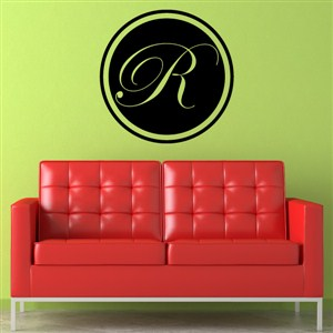 Circle Frame Monogram - R - Vinyl Wall Decal - Wall Quote - Wall Decor
