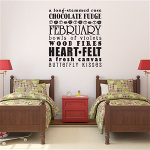 February a long-stemmed rose chocolate fudge  - Vinyl Wall Decal - Wall Quote - Wall Decor