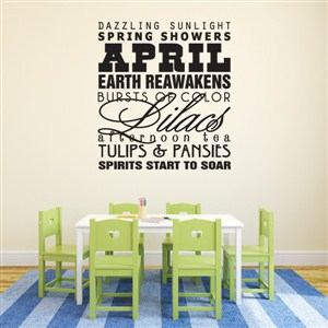 April dazzling sunlight spring showers earth reawakens - Vinyl Wall Decal - Wall Quote - Wall Decor