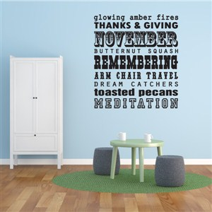 November glowing amber fires butternut squash - Vinyl Wall Decal - Wall Quote - Wall Decor